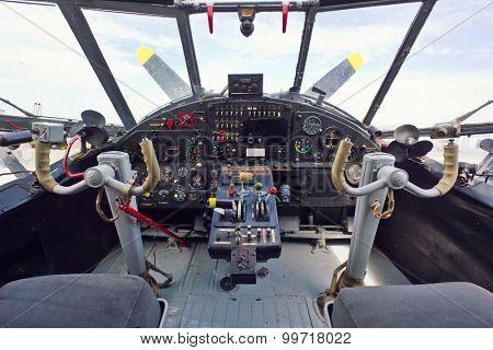Vintage airplane cockpit interior