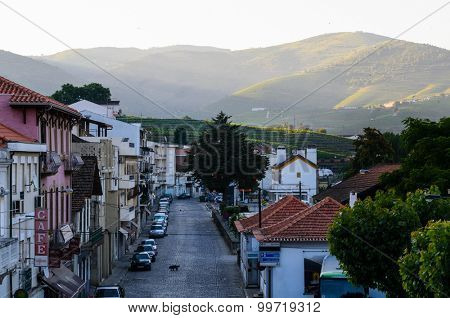 morning street in Pinhao, river Douro valley, Portugal