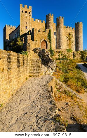 view of castle in Obidos, Portugal