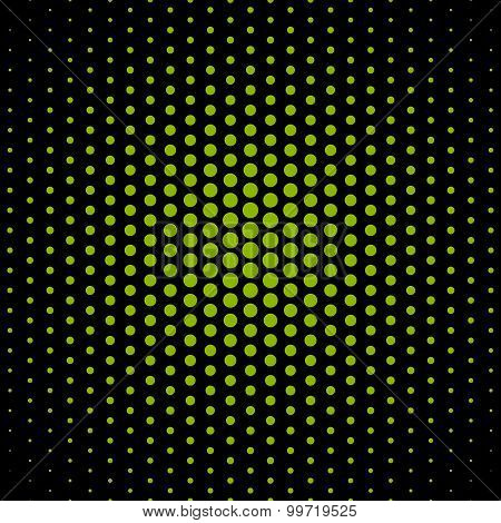 Apple green techno dot on black background