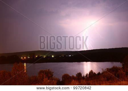 Bright lightning discharge against the black sky