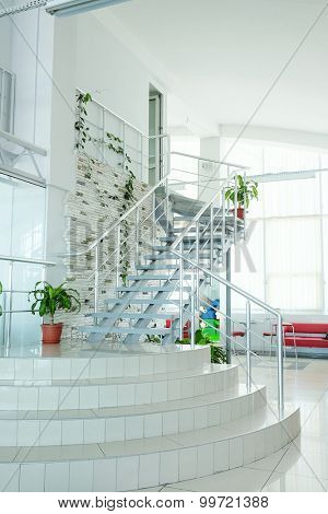 The image of a stairwell in a modern building