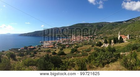 Panoramic view of the old town of Komiza on the island of Vis, Croatia