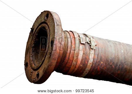 Dirty Old Pipe With Flange Isolated On White Background