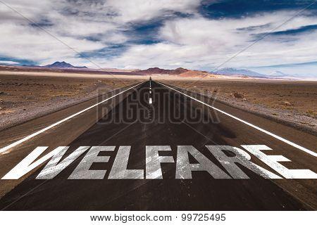 Welfare written on desert road