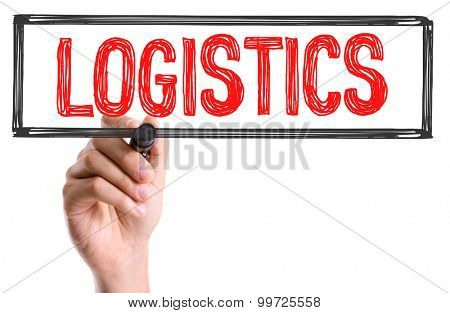 Hand with marker writing the word Logistics