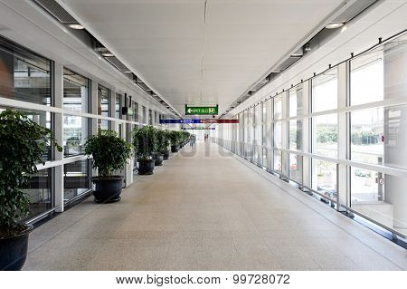 HONG KONG - JUNE 04, 2015: way to Regal Airport Hotel. Regal Airport Hotel directly linked to Hong Kong International Airport