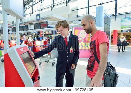 PRAGUE, CZECH REPUBLIC - AUGUST 04, 2015: self check-in kisosk in airport of Prague. International airport of Prague is major airport of Czech Republic