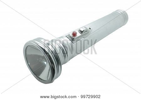 Old metal flashlight, silver torch
