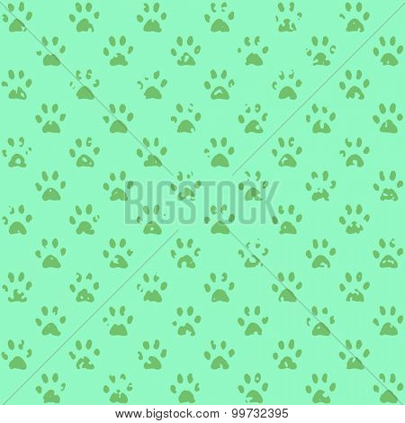 Stamped paw prints in pink, dark on lighter, a seamless background pattern