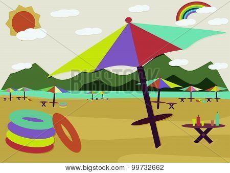 Summer beach retro style sea side rainbow and sun with colorful beach umbrella