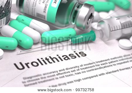 Urolithiasis Diagnosis. Medical Concept. Composition of Medicaments.