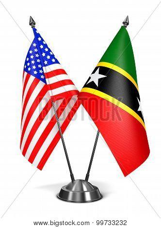 USA, Saint Kitts and Nevis - Miniature Flags.
