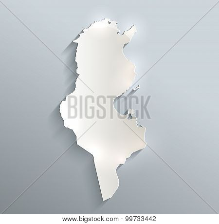 Tunisia map blue white card paper 3D raster