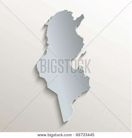 Tunisia map white blue card paper 3D raster