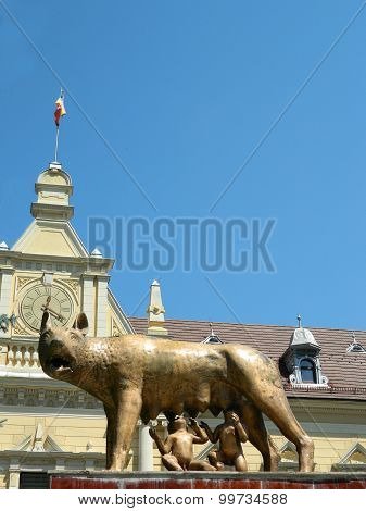 Mother Wolf With Remus And Romulus And Clear Blue Sky.
