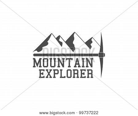 Vintage summer camp badge outdoors logo, emblem and label. Mountain Explorer concept, monochrome des