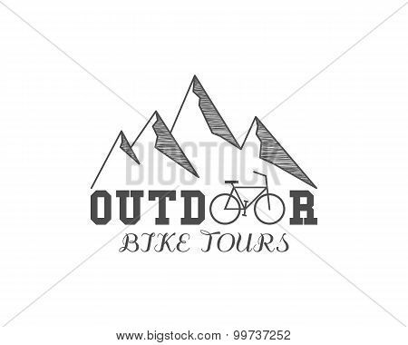Vintage outdoor bike tours badge, outdoors logo, emblem and label. Mountain camp concept, monochrome