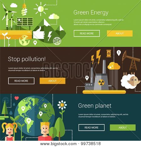 Set of ecological flat modern illustrations, banners, headers with icons and characters. Flyers for