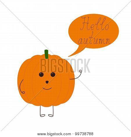 Funny Pumpkin And Speech Bubble