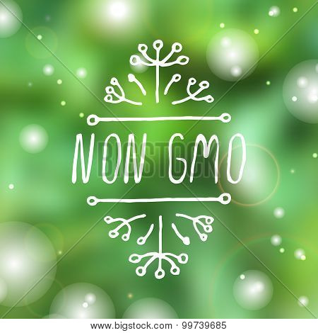 Non GMO - product label on white background.