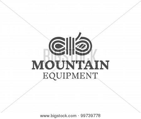 Mountain equipment badge, outdoors logo, emblem and label. Explorer concept, monochrome design. Best
