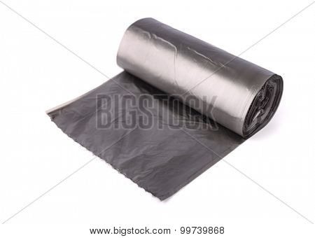 Roll of garbage bags isolated on white