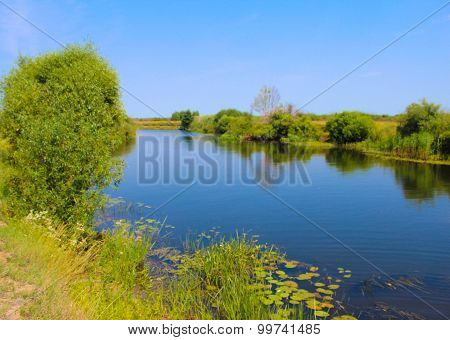Rural, Rustic Landscape With River And Fields In Summer Day.
