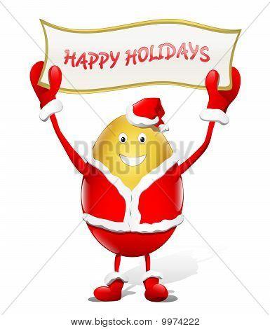 Happy Holidays - gold santa claus