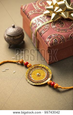 Handmade Raakhi and a gift for the sister given by brother on the occasion of Raksha Bandhan.