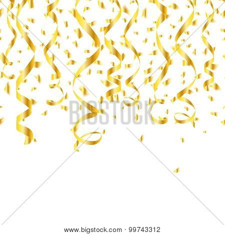 Party golden confetti streamers