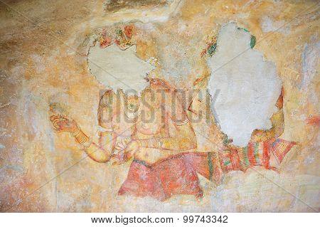 Exterior of the damaged ancient paintings at Sigiriya rock in Sigiriya, Sri Lanka.