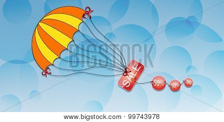 Parachute With The Inscription Discount On An Abstract Background.vector