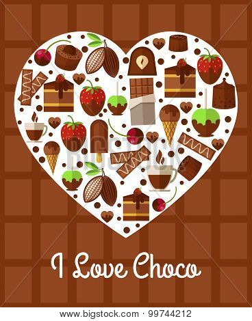 Chocolate heart poster. Love to sweets concept