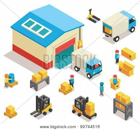 Isometric factory distribution warehouse building with trucks, electric trolleys and goods. Vector 3