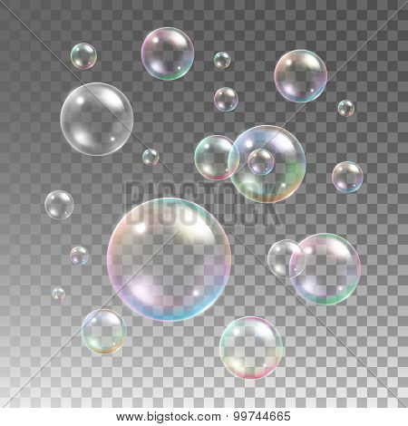 Transparent multicolored soap bubbles vector set on plaid background
