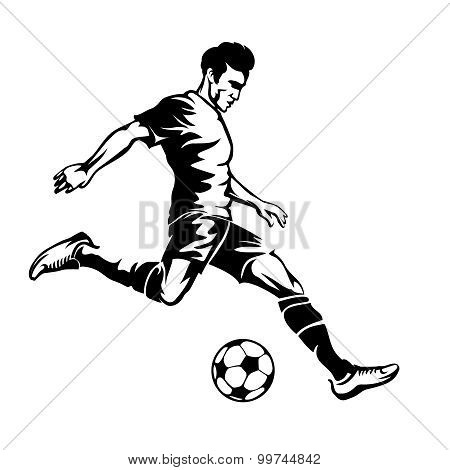 Football player with soccer ball vector silhouette