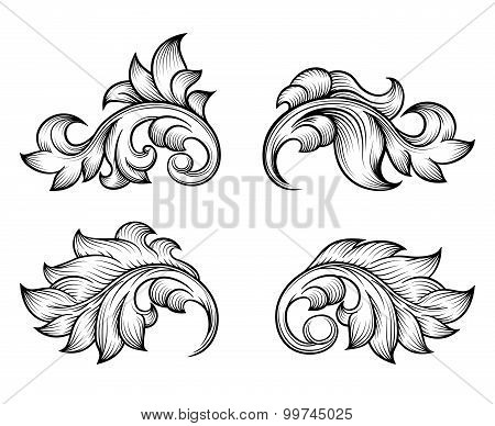 Vintage baroque scroll leaf set in engraving style