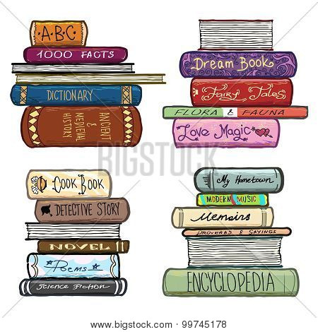 Vintage hand drawn books library vector set. Literature covers