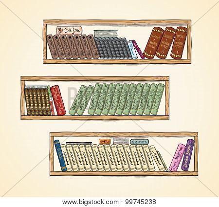 Hand drawn vector books on the bookshelves