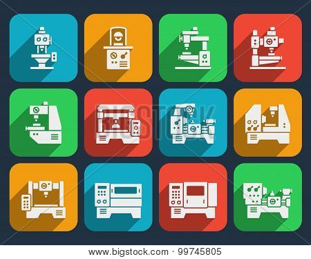 Processing milling, turning and drilling machines icons