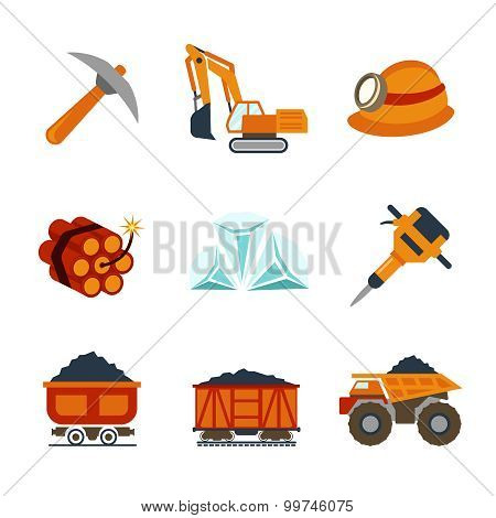 Vector coal industry flat icons set