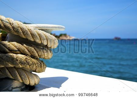 Asia In The  Kho Tao Bay Isle White  Ship   Rope  And South China Sea