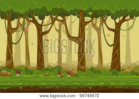 Cartoon forest landscape, endless vector nature background for computer games