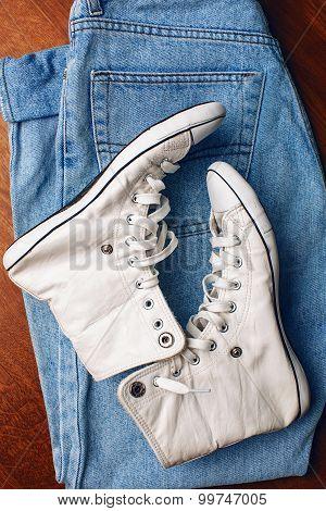 Sneakers On Jean Pants