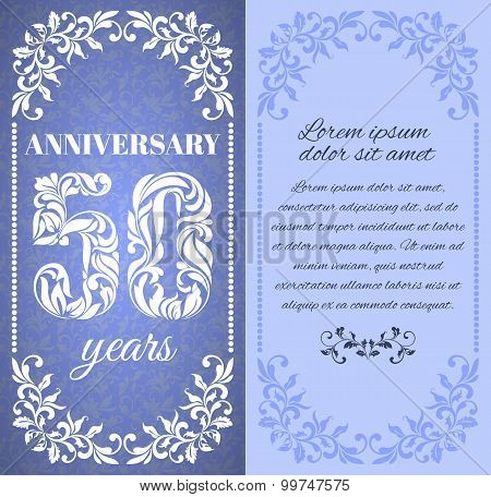 Luxury Template With Floral Frame And A Decorative Pattern For The 50 Years Anniversary. There Is A