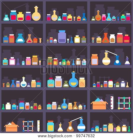 Alchemical elixirs or chemicals and medications on cabinet shelves. Seamless background