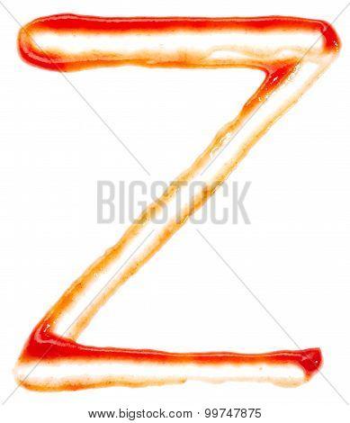 Alphabet of ketchup. Letter Z