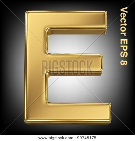 Vector letter E from gold solid alphabet. Eps 8 using mesh.