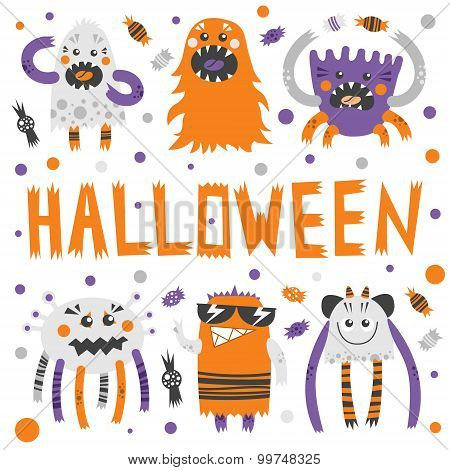 Vector Set Of Scary, But Cute Halloween Monsters With Toothy Smiles. Funny Colorful Characters